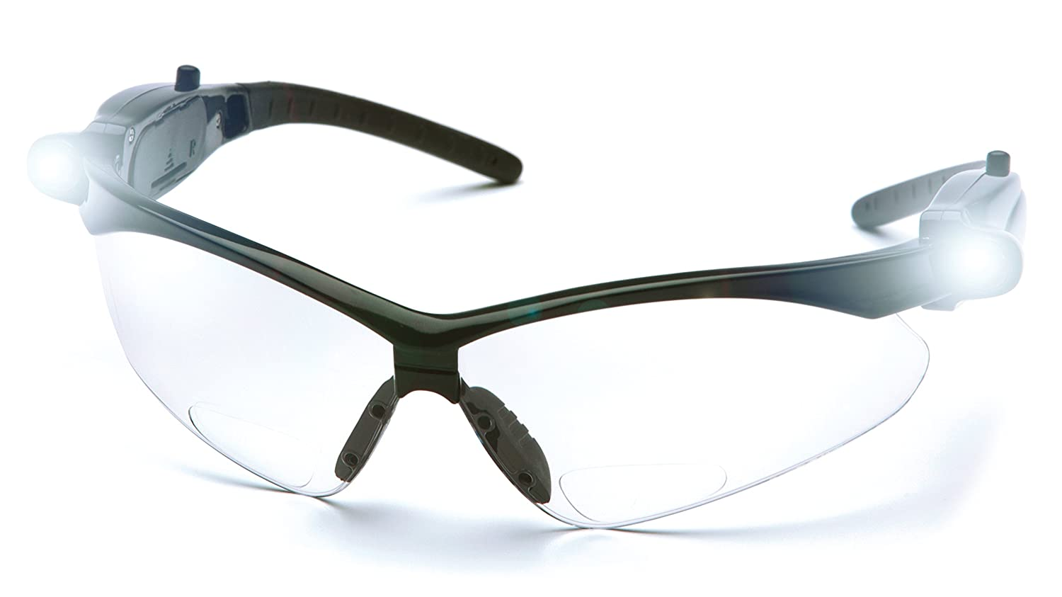 Pyramex PMXTREME Readers Bifocal Safety Glasses Eye Protection, Clear +2.0 Bifocal Lens, LED Temples