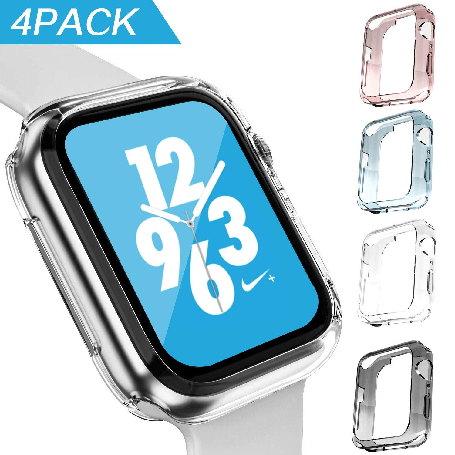 GONJOY Apple Watch Series 4 44mm Case Protector, [4 - Pack Colorful] Soft TPU Protective Cover Bumper Case Compatible with Apple iWatch Series 4 44mm & Series 3 Series 2 42mm by GONJOY