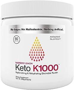 Keto K1000 Electrolyte Powder | Boost Energy & Beat Leg Cramps | No Maltodextrin or Sugar | No Ingredients from China or Pakistan | Raspberry Lemon | 50 Servings