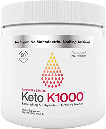 Keto K1000 Electrolyte Powder Boost Energy Beat Leg Cramps No Maltodextrin or Sugar Raspberry Lemon 50 Servings