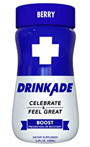 DrinkAde Boost (12 Pack) Hangover Prevention & Recovery w/Caffeine, Electrolytes, Vitamin B, Milk Thistle for Energy, Hydration & Liver Detox, No Sugar, Only 5 Calories, Vegan, Non-GMO