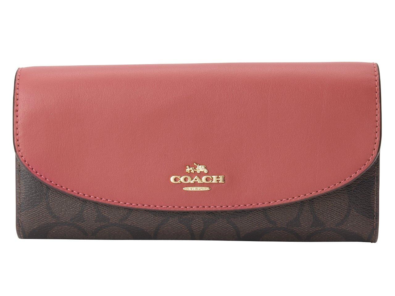 (コーチ) COACH 財布 長財布 二つ折り シグネチャー SLIM ENVELOPE F54022 アウトレット [並行輸入品] B079YKB3GH ブラウン×ルージュ ブラウン×ルージュ
