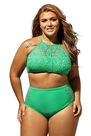 051cd379e05 Amazon.com: EVALESS Womens Plus Size Sheer Mesh Padded Push up Bikini Set Swimsuit  Swimwear: Clothing