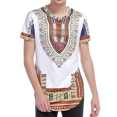 Kurzarm Traditionelle Festival T-Shirt Männer Tops 3D Gedruckt African  Style Dashiki Shirt  Amazon.de  Bekleidung 990a77c617