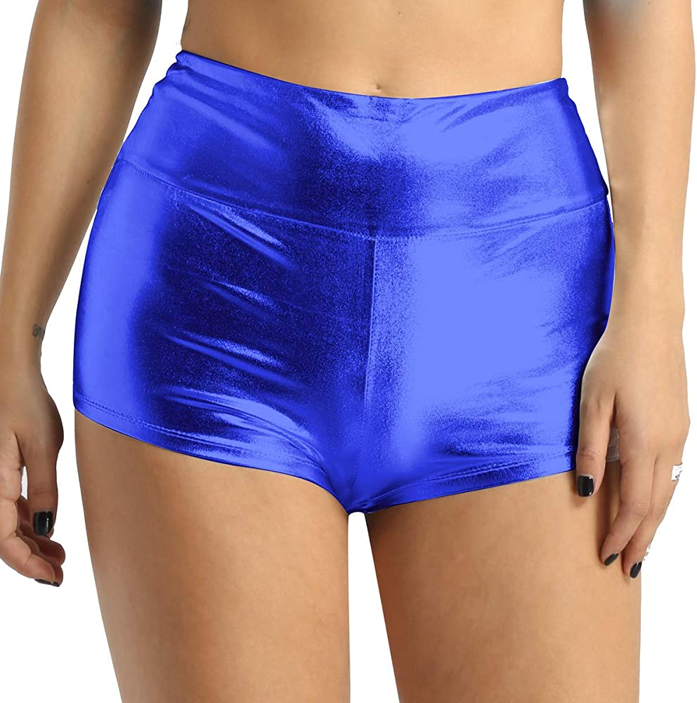 Iridescent Blue, 1pc Shimmer High Waisted Shorts