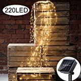 Solar String Lights Outdoor 11 Strands 220 LEDs Branch Copper Christmas Tree Lights Twinkle Starry Fairy Lights Waterproof for Garden Wedding Party Decoration (Warm White)