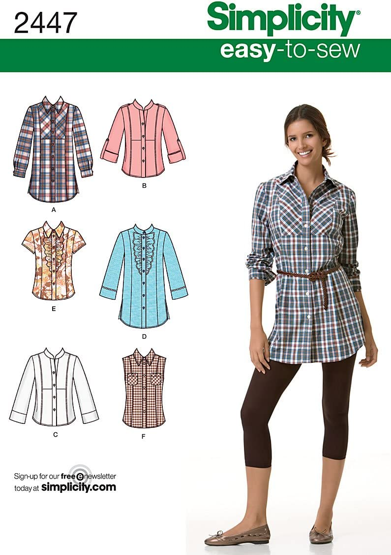 SIMPLICITY SEWING PATTERN S8987 MISSES/' TOPS WITH SLEEVE VARIATIONS