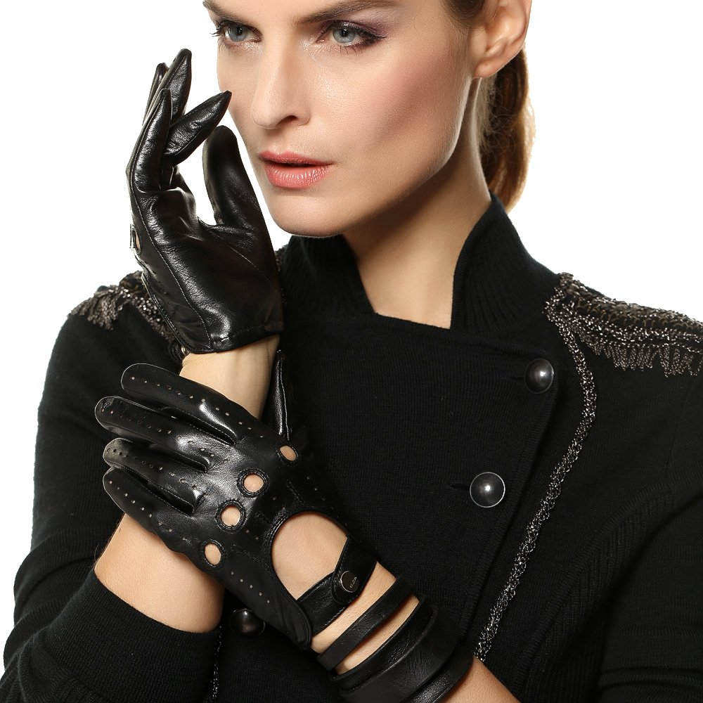 Elma Tradional Women's Italian Nappa Leather Gloves Motorcycle Driving Open Back (L, Black)
