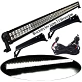 YITAMOTOR 52 Inch LED Light Bars with Mounting Brackets for Jeep Wrangler TJ with Wiring Harness, Waterproof Offroad Lights for Jeep 3 Year Warranty