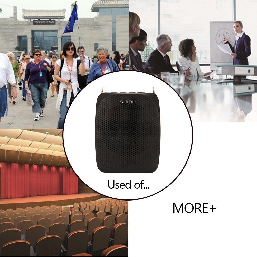Portable Voice Amplifier Pa system loud speaker with 1800mAh Rechargable Lithium Battery , Wired headset Microphone Waist Support Suitable for Tour Guides, Teachers, Coaches, Presentations, Costumes by SHIDU (Image #6)