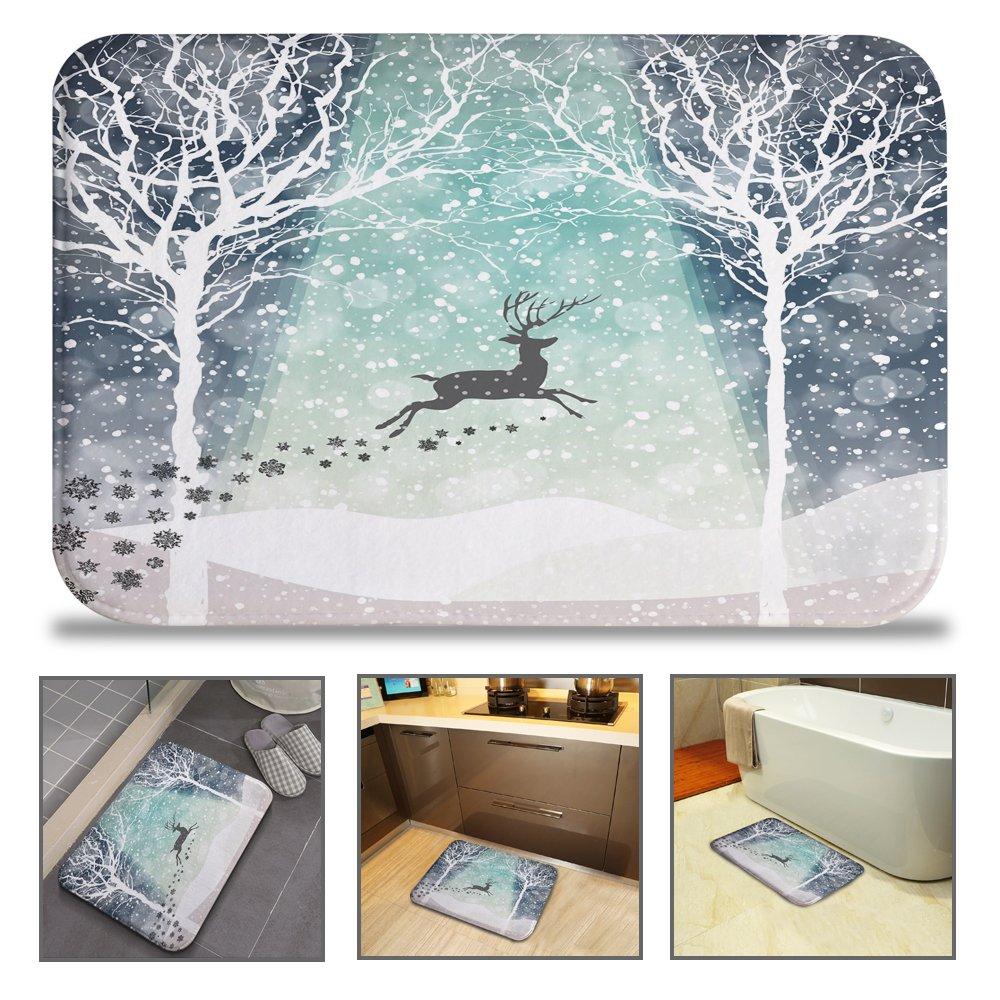 QIYI Bath Mat Rug Super Soft Non-Slip Machine Washable Quickly Drying Antibacterial,for Office Door Mat,Kitchen Dining Living Hallway Bathroom 16'' W x 24'' L (40 x 60 cm) -Hakodate Reindeer