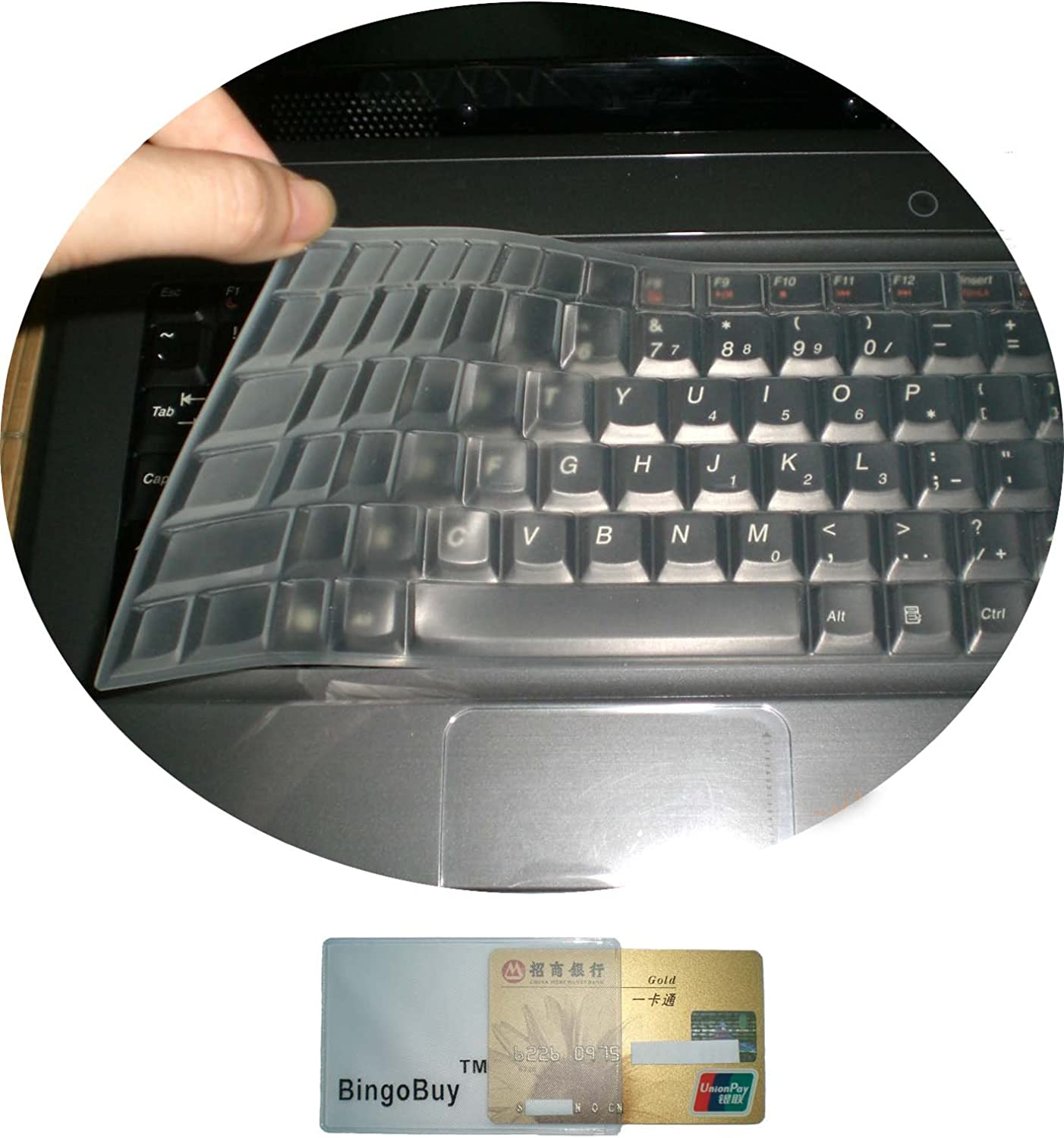 BingoBuy US layout Keyboard Protector Skin Cover for 15.6'' Dell Inspiron 15-3565 15-7559 15-7588 15-3552 15-5555 15-7567 15-7577 15-5570 17-5770 17-5755 17-5759 with Card Case (clear)