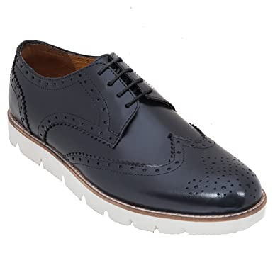 Handmade Semi Formal Brogue Shoe In Real Calf Leather (Lace ups) For Men In Grey Colour