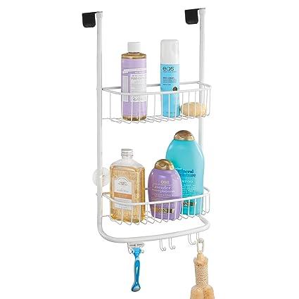mDesign Estantería de ducha para colgar sobre la mampara – Práctico  colgador para ducha con ventosas 373ab2350193