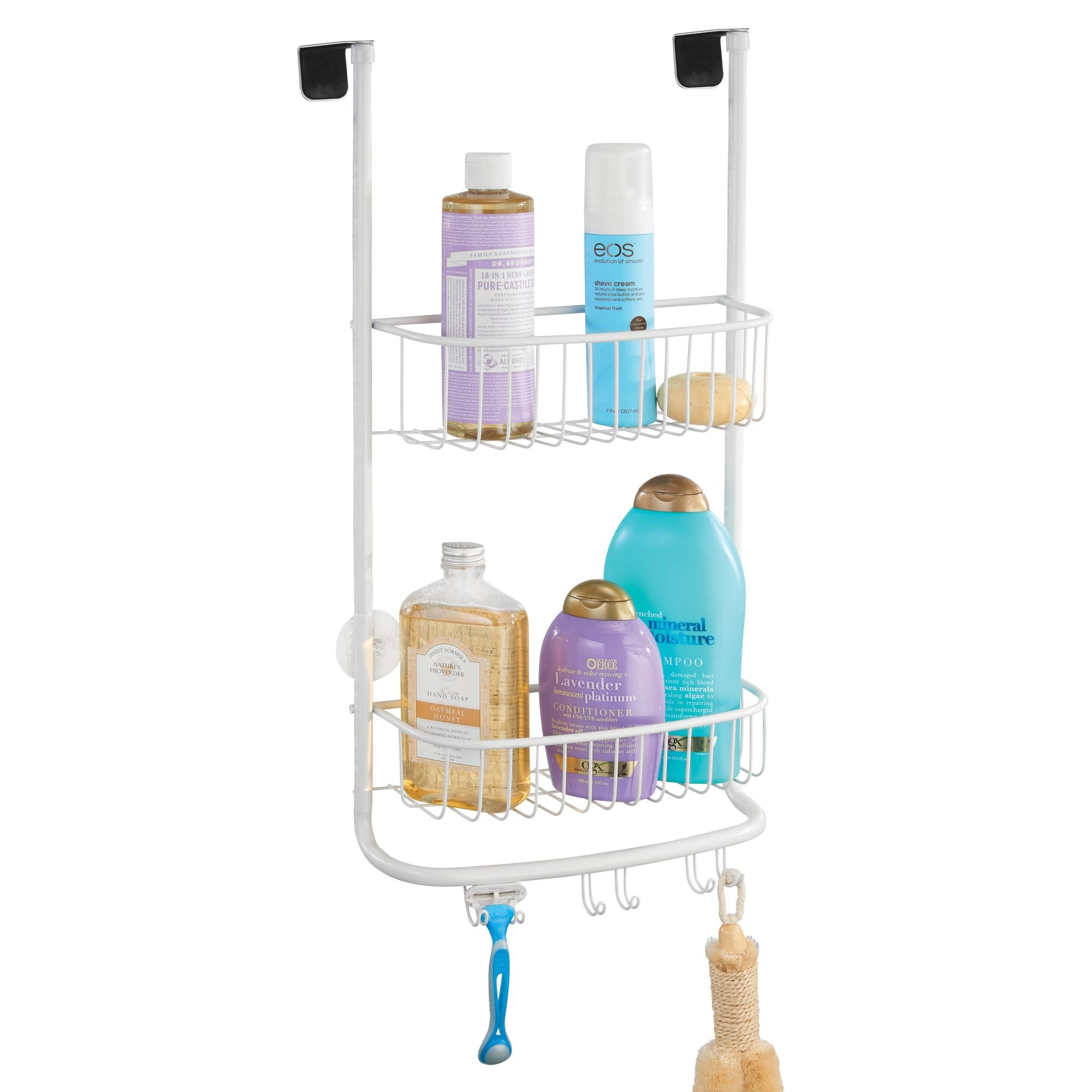 mDesign Modern Metal Bathroom Tub and Shower Caddy, Over Door Hanging Storage Organizer Center with 6 Built-in Hooks and 2 Baskets for Bathroom Shower Stalls, Bathtubs - Matte White Finish