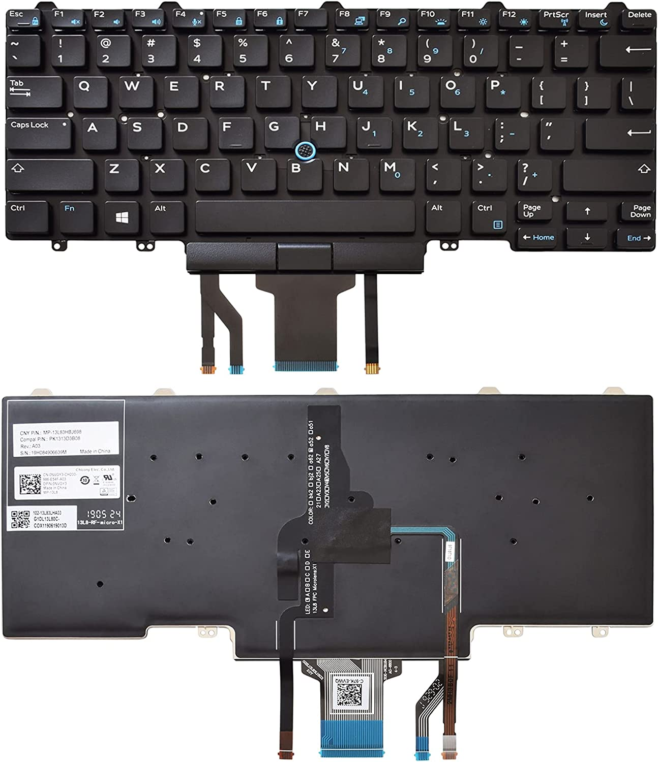 SUNMALL Backlit Keyboard Replacement Compatible with Dell Education E5450 E5470 E5480 E7450 P40G E7470 E7480,Latitude 14 5480 5488 5490 5491 7480 7490 with Pointer US Layout