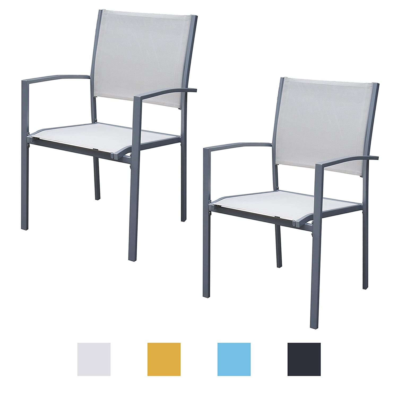 Jalano Gartenstühle mit Armlehne Doppelpack Grauer Rahmen Gartenstuhl in Verschiedenen Farben Wetterfest Stapelstuhl 2er Set Terrasse Gartenmöbel Bistro Stuhl (Weiß)