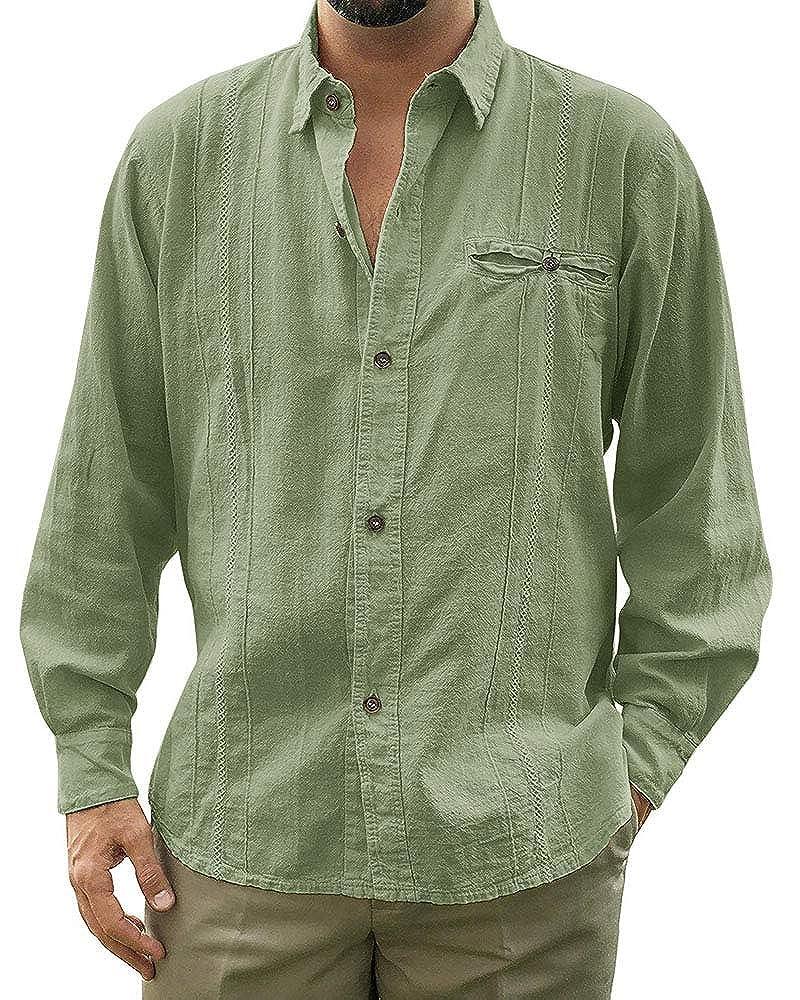 Pengfei Mens Linen Cotton Shirts Cuban Casual Button Down Long Sleeve Loose Fit Fishing Shirt