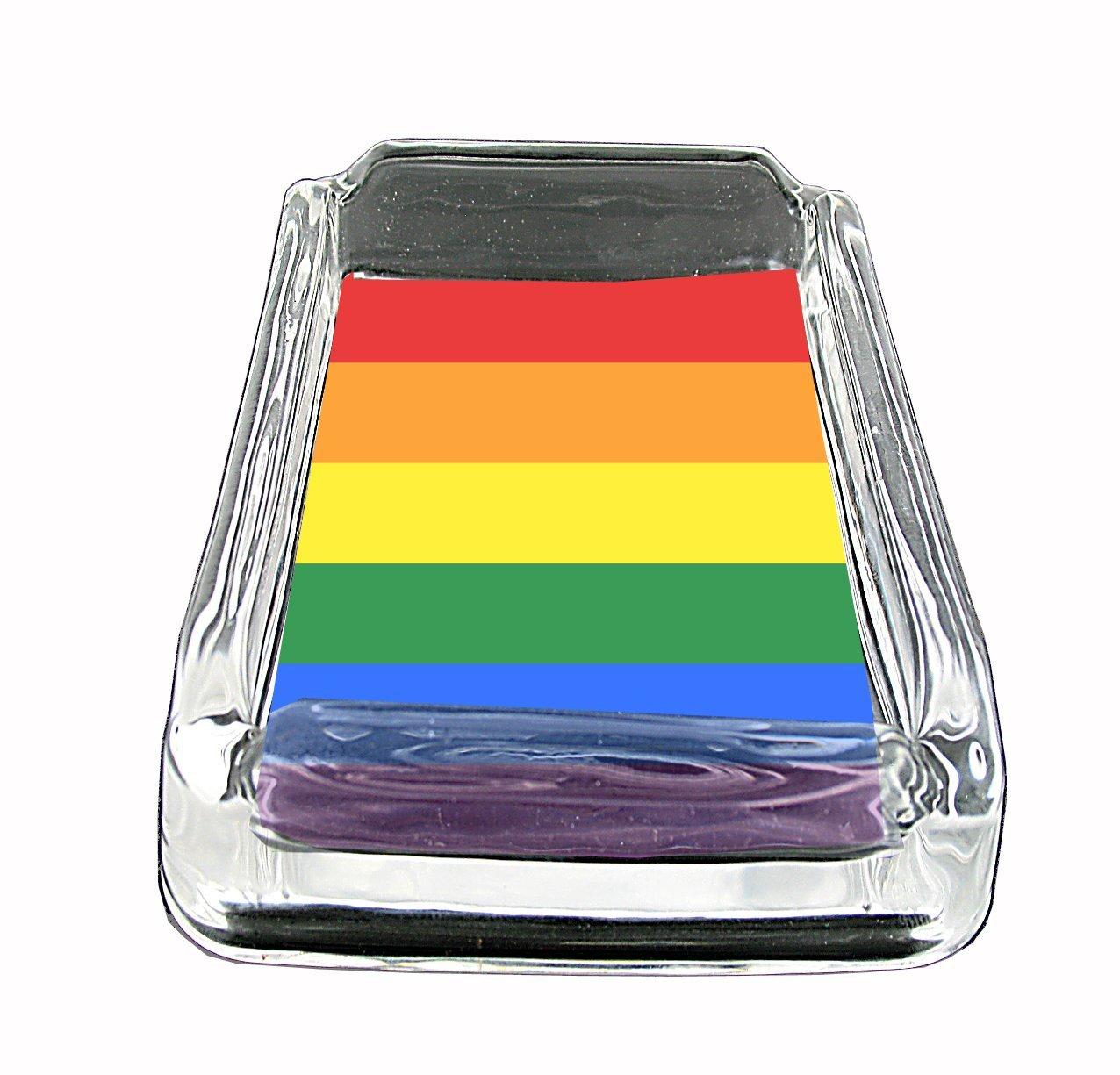 Gay Pride Glass Square Ashtray American Stel