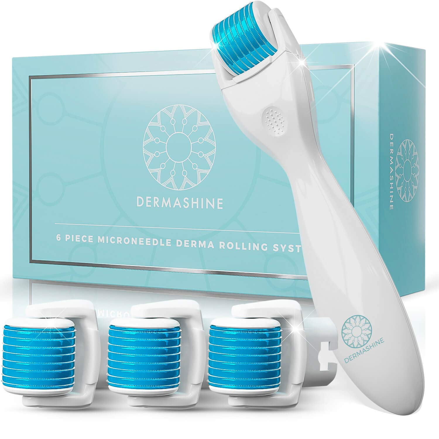 DermaShine Derma Roller 6 Piece Kit for Face Body Microdermabrasion 0.25mm Micro Needling Skin Care Set 4 Replacement Heads, 600 Titanium Needles Microneedle Roller Derma Planing Tool