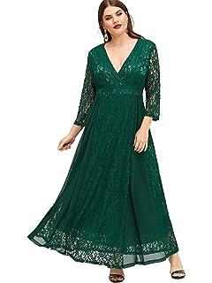 ESPRLIA Women s Plus Size High Waist Lace Overlay Maxi Evening Dresses bd8f015c7ba8