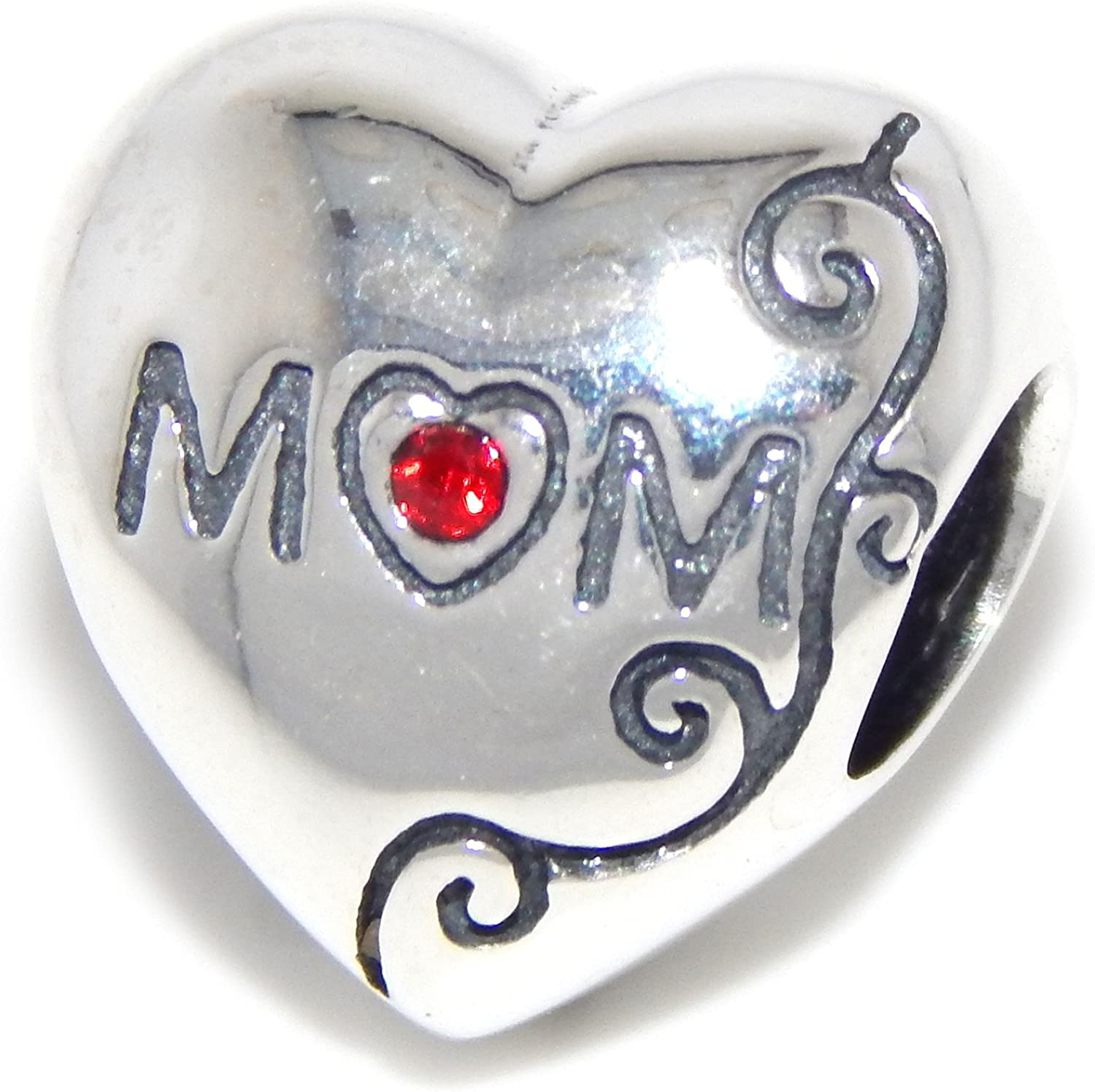 ICYROSE Solid 925 Sterling Silver Mom Heart w//Red CZ Charm Bead 370 for European Snake Chain Bracelets