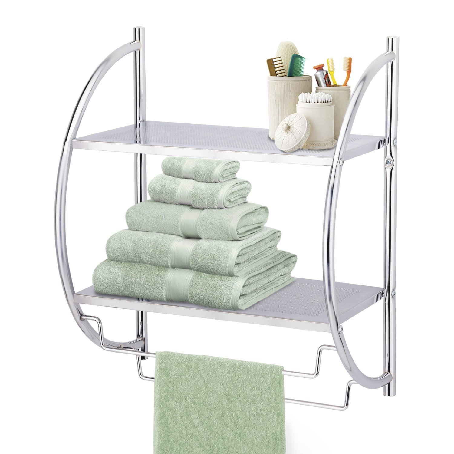 taylor u0026 brown chrome 2 tier wall mounted bathroom towel holder shelf rack amazoncouk kitchen u0026 home