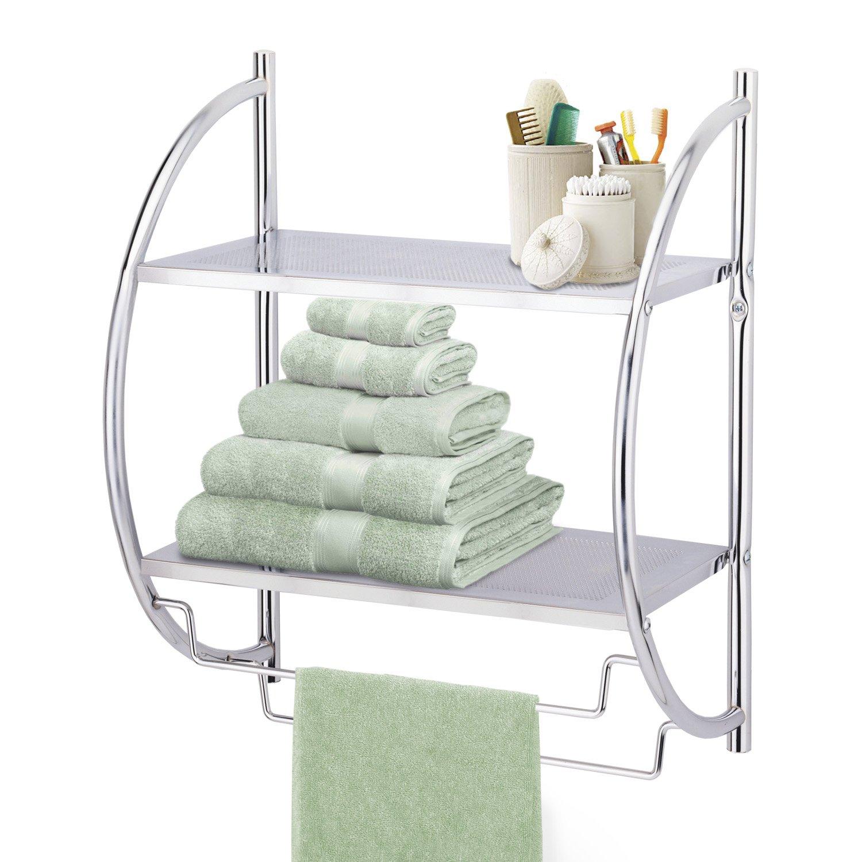 Taylor & Brown Chrome 2 Tier Wall Mounted Bathroom Towel Holder