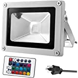 Warmoon LED投光器 10W フラッドライト RGB 16色調整可能 4モード ブラグ リモコン付き 高輝度 舞台照明 作業灯 屋外照明 演出 集魚灯 看板灯 パーティー雰囲気に適用