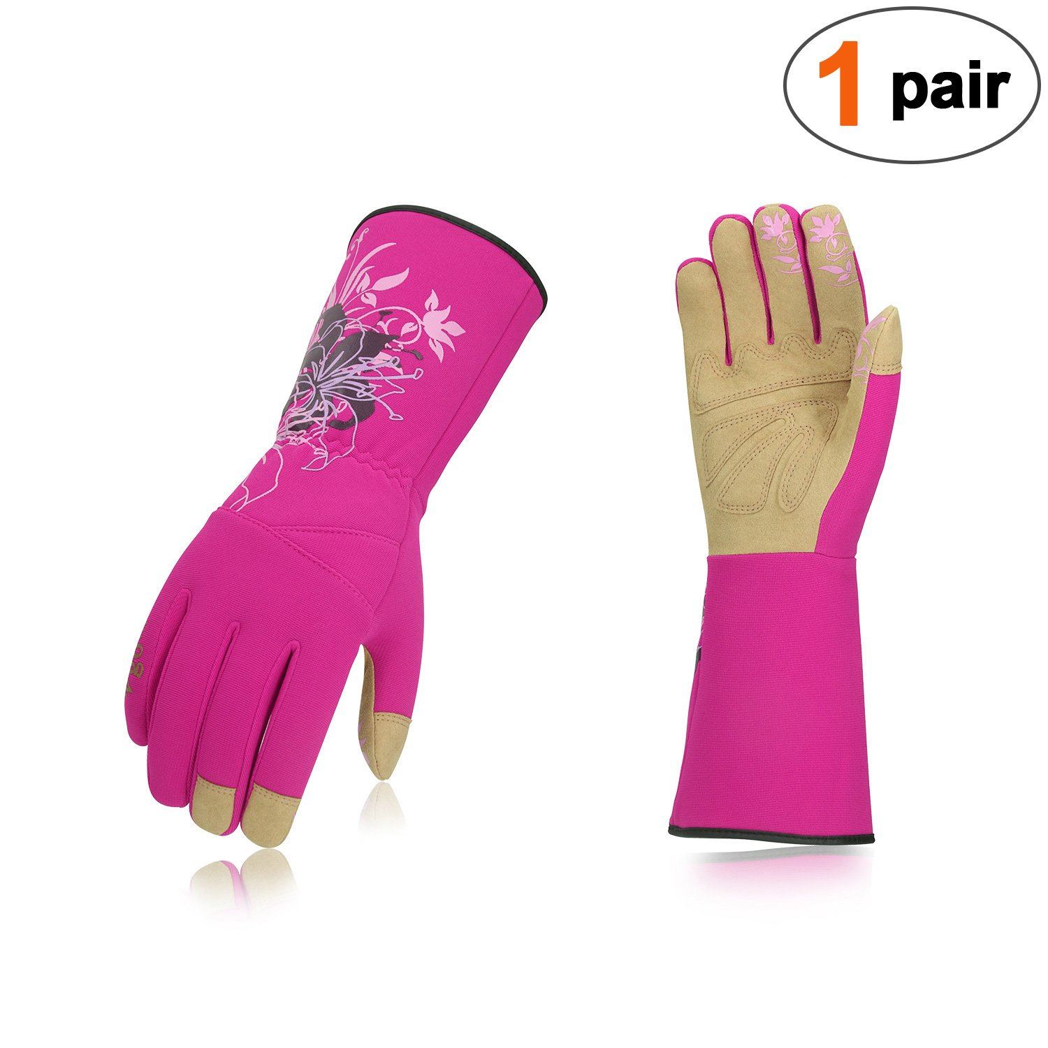 Vgo Ladies' Synthetic Leather Long Cuff Rose Garden Gloves(1Pair,Size L,Purple Red,SL7445)