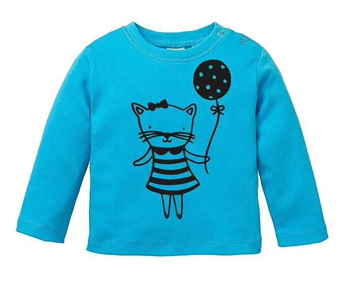 Angry Shirts Süße Katze mit Luftballon - Bio Baby Longssleeve ...