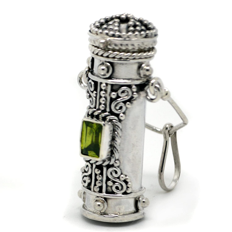Tall Sterling Silver Moonstone, Amethyst, Garnet, or Peridot Poison Bottle Pillbox Urn Pendant