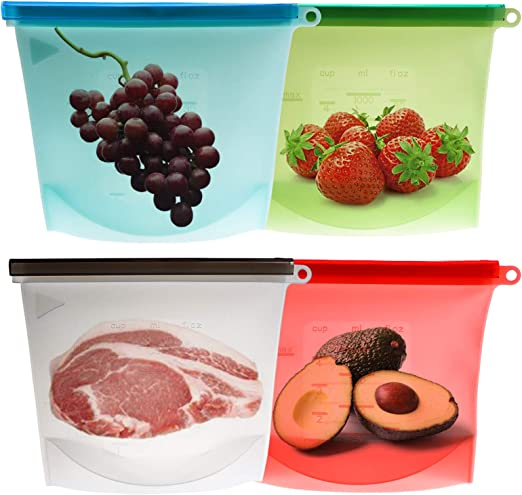 4Pc Reusable Silicone Food Savers Preservation Bag Storage Container Oven Safe