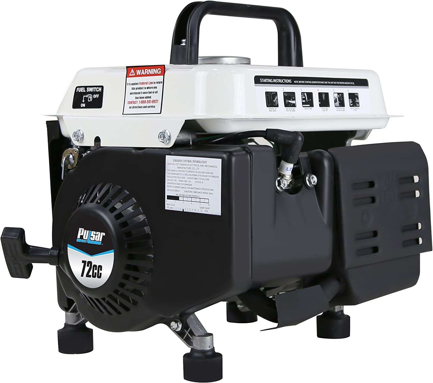 Pack of 1 PG1202S Gas-Powered Portable Generator Pulsar 1,200W Carrying Handle Black//White 1200 Watts