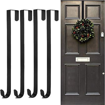 Metal Over Door 38cm Christmas Wreath Door Hanger Secure Xmas Decoration Hook ^x