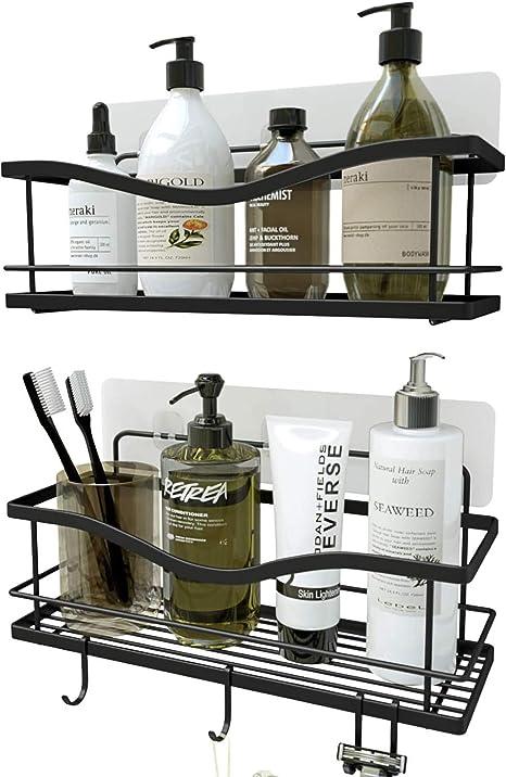 Amazon Com Kincmax Shower Caddy Bathroom Shelf No Drilling Traceless Adhesive Bathroom Storage Organizer Sus304 Rustproof Food Storage Basket 2 In 1 Kitchen Spice Racks 2 Pack Matte Black Home Kitchen