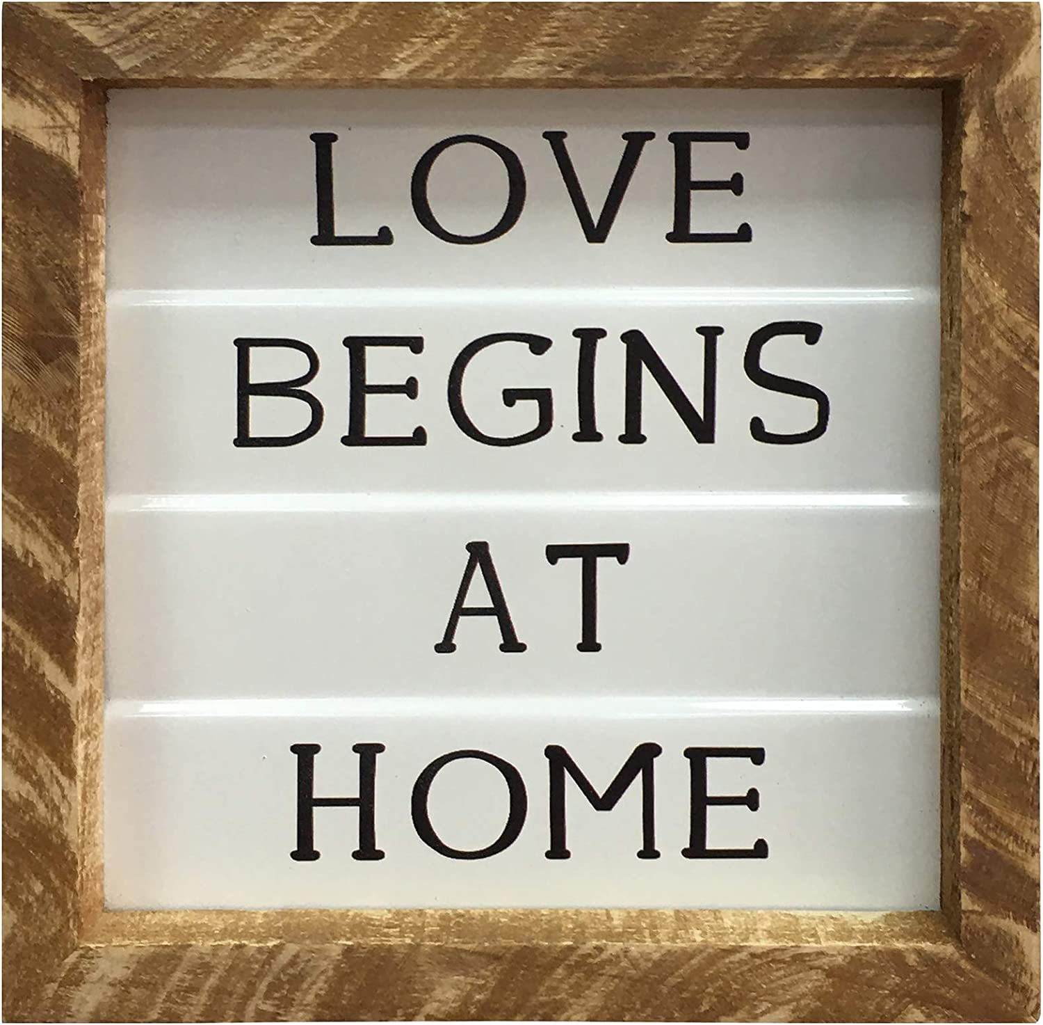 Rustic Wood Metal Signs, 7x7 inch Embossed Enamel Wall Hanging Art Home Table Decor, Distressed Farmhouse Wooden Box Sign Gift for Shelf Mantel Living Dining Room Bedroom Kitchen - LOVE BEGINS AT HOME