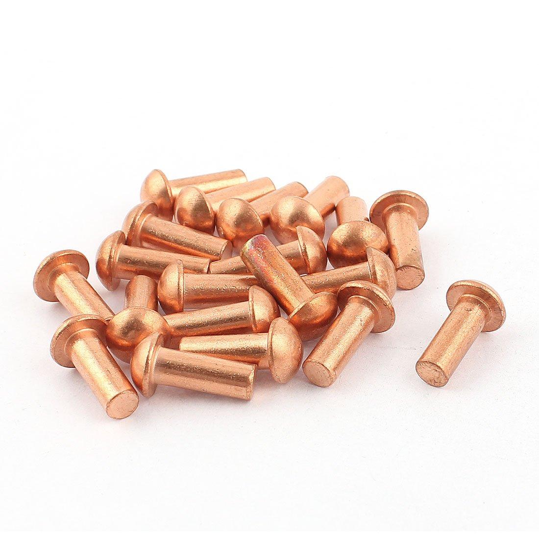 20 Pcs 1/4'' Dia. 5/8'' L Shank Copper Round Head Solid Rivets Fasteners
