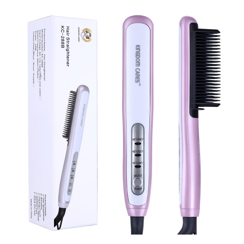 KINGDOMCARES Professional Fastest Hair Straightening Brush Electric Hair Massage Straightening Irons Anti-Burns Hairbrush Hair Brush Styling Comb Anti-Scald Hair Comb Ceramic Hair Straightener Pink