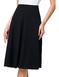 ea95064a7f Kate Kasin Flared Stretchy Midi Skirt High Waist Jersey Skirt for Women
