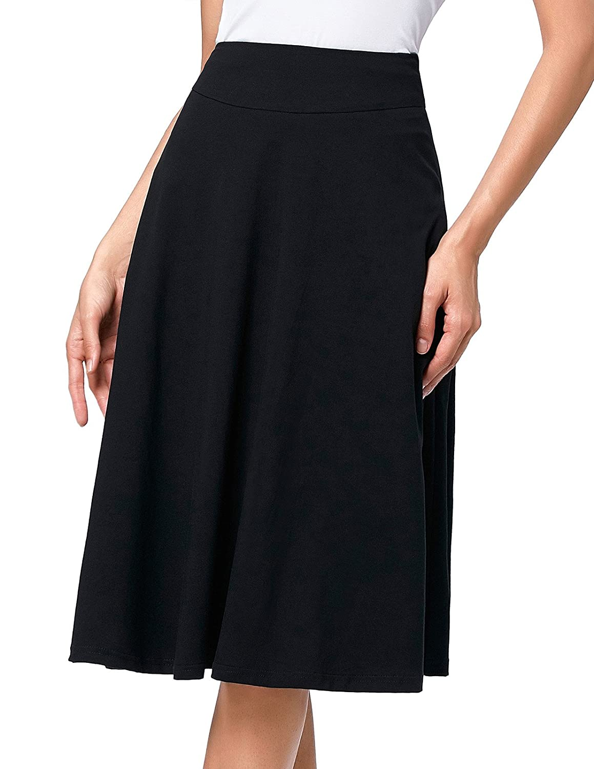 a00b800613 Kate Kasin Flared Stretchy Midi Skirt High Waist Jersey Skirt for Women at  Amazon Women's Clothing store: