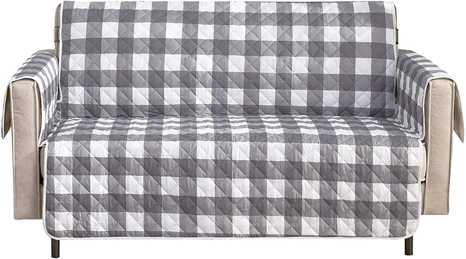 "Wake In Cloud - Sofa Cover 100% Waterproof Non-Slip, Pets Dogs Cat Kids Furniture Protector 2 Cushion Couch Slip Cover, Elastic Strap, Gray Grey White Buffalo Check Plaid (54"" Loveseat)"