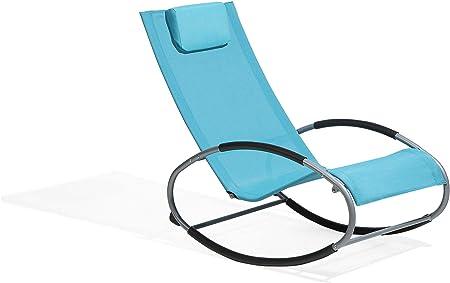 Beliani Chaise de Jardin à Bascule Bleue Campo: Beliani