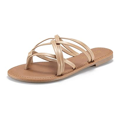 49348715a3fec3 DREAM PAIRS Women s SLIPP 01 Nude Thong Design Strappy Fashion Summer Flat  Sandals Size 5 ...