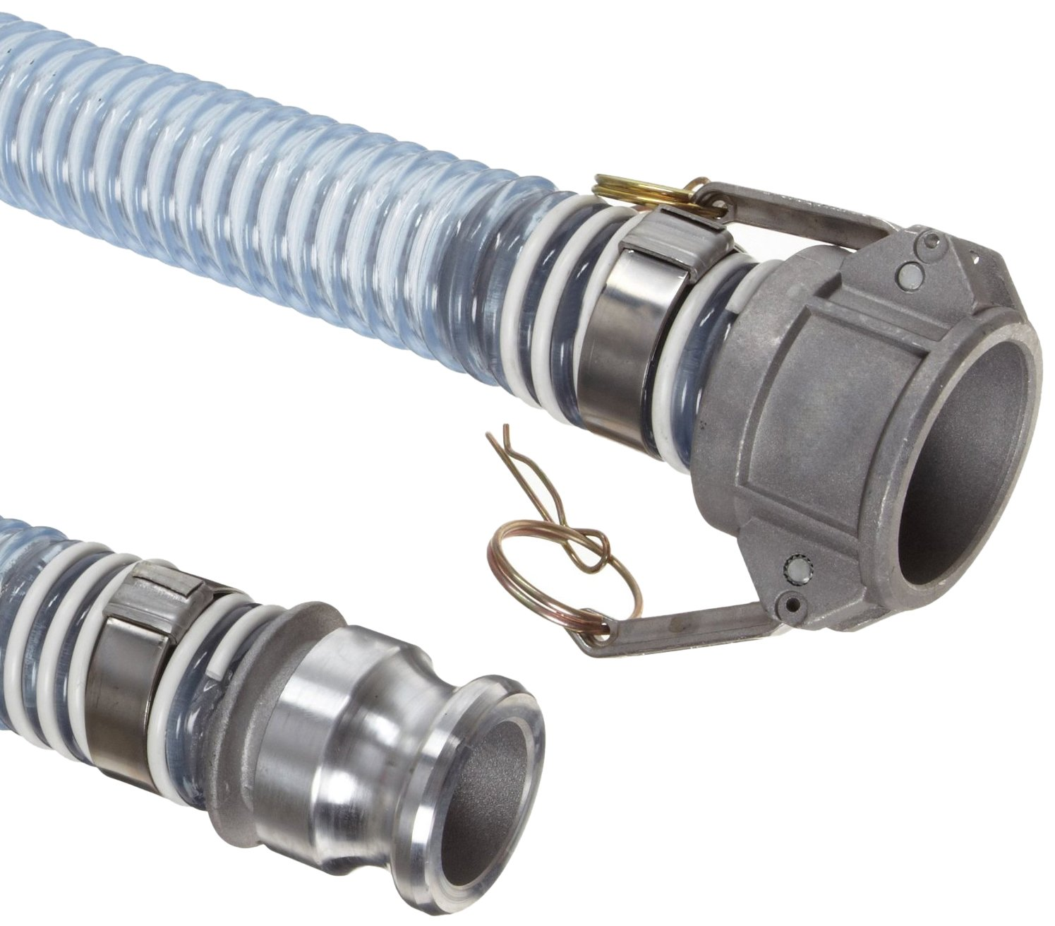 Unisource 1760 clear PVC Food Grade Hose Assembly, 2-1/2'' Aluminum Cam And Groove Connection, 29.8'' Hg Vacuum Rating 40 PSI Maximum Pressure, 15' Length, 2-1/2'' ID