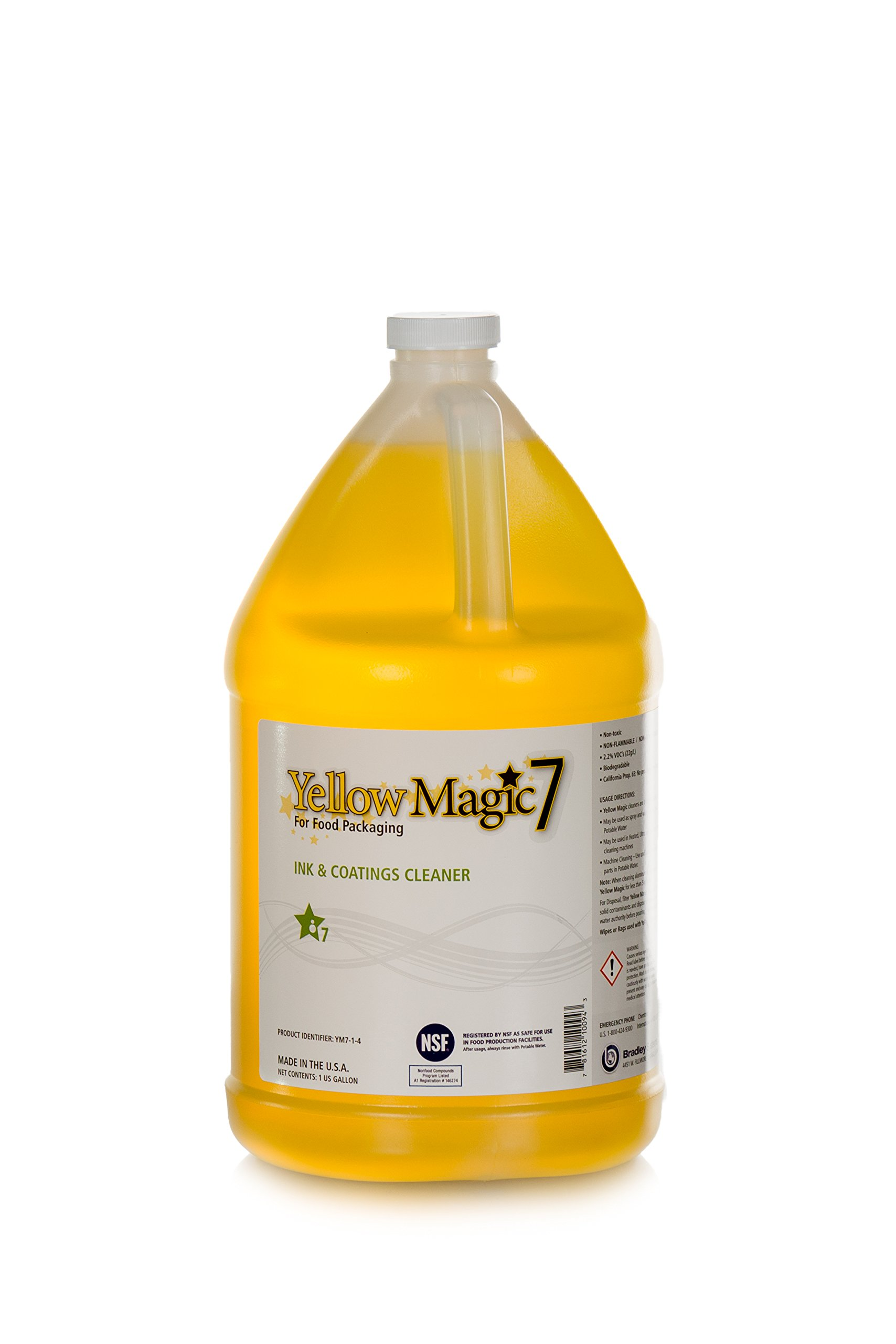 Yellow Magic 7: One Gallon, Full Strength, Undiluted Jug of Human and Pet-safe Flexo UV Ink and Varnish Cleaner for Food Packaging, SLA 3D Printers, Coatings & Varnishes, Rubber, Plastic, Steel by Bradley Systems