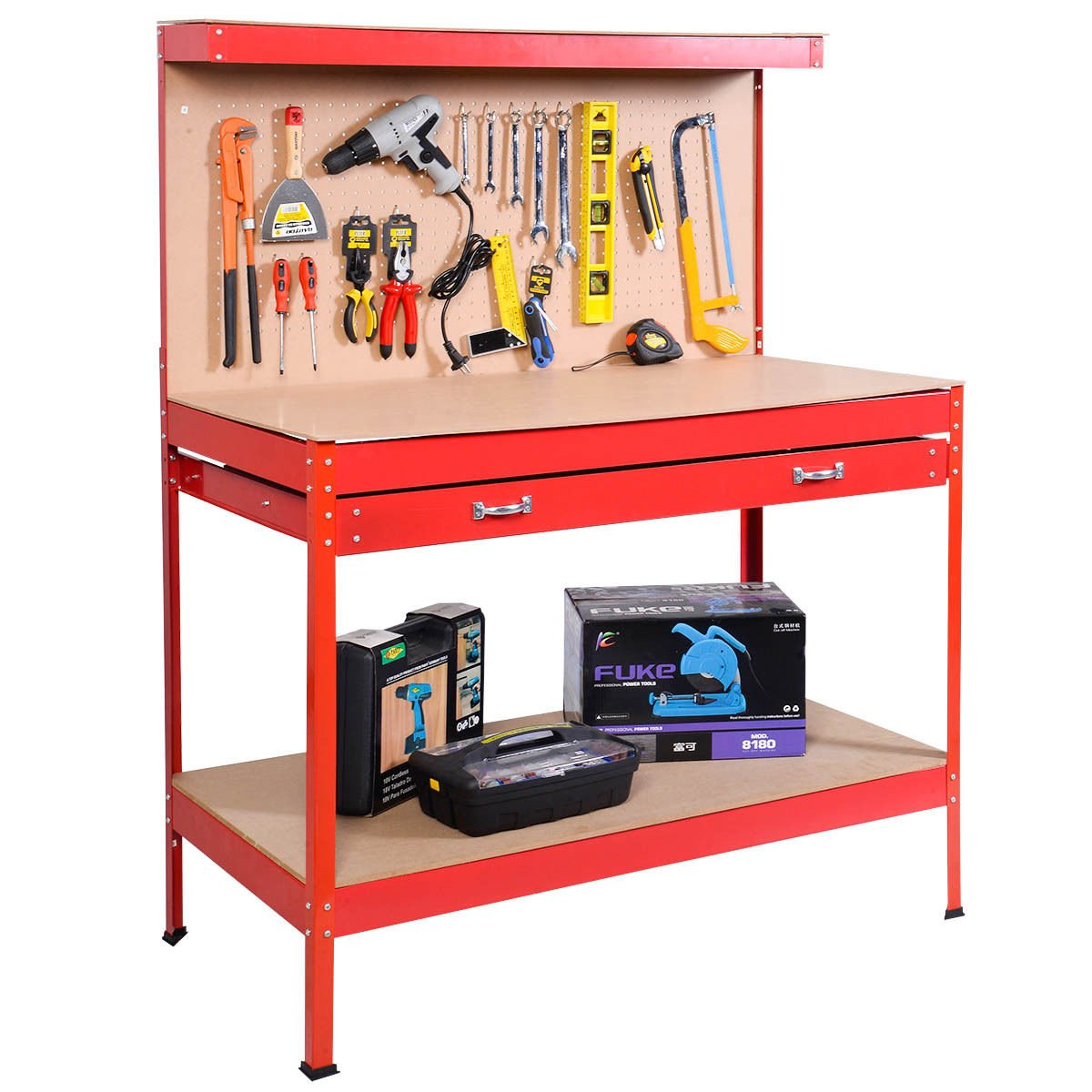 Red Work Bench Tool Storage Steel Tool Workshop Table W/ Drawer and Peg Board