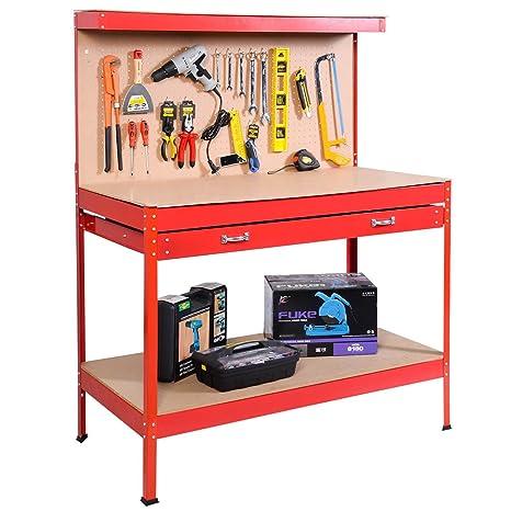 Cool Red Tool Storage Workshop Steel Table Bench Work Garage Workbench Heavy Duty Shop Peg Drawer And Board W Drawers Shelf New Machost Co Dining Chair Design Ideas Machostcouk