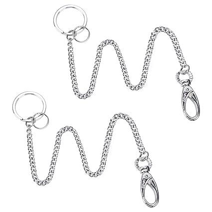 boyou 2 piezas Largo llavero largo cadena llavero llavero con clip para cinturón, aprox. 37,5 cm