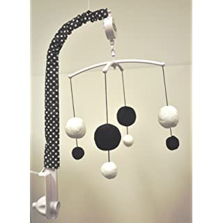 Bacati - Dots/pin Stripes Black/white Musical Mobile